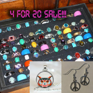 JEWELRY - 4 / $20 - random rings necklace earrings